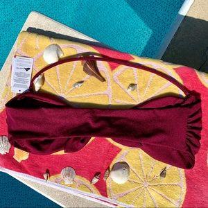 Leith Swim - Leith Burgundy Tie Front Bandeau Bikini Top Large